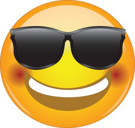 Awesome flushed face smiling emoji. Cool happy face emoticon wearing sunglasses and with a wide smile showing upper teeth and blushing cheeks. Expressing happiness, excitement, affection, joy, shyness Vettoriali