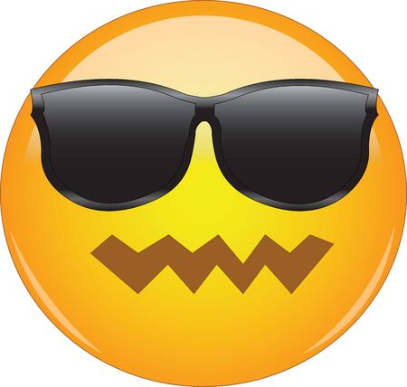 Cool yet confused emoji. Yellow face emoticon with pwnd face expression and sunglasses looking awesome. Expression of being awesome, cool, yet confused, crushed, depressed, disappointed or sad.