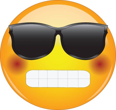 Cool grinning and blushing emoji. Awesome looking yellow face emoticon wearing shades with broad grin and flushed cheeks. Expression of happiness, love or infatuation or being shy or embarrassed.. Vettoriali