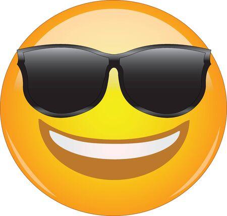 Émoticône cool dans des lunettes de soleil. Impressionnante émoticône de visage souriant portant des lunettes de soleil et ayant un large sourire. Expression d'être cool, heureux, souriant, souriant, génial.