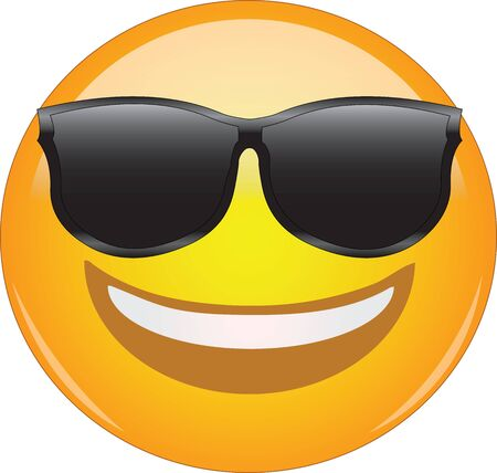 Cool emoticon in sunglasses. Awesome grinning face emoticon wearing shades and having a wide smile. Expression of being cool, happy, smiling, grinning, awesome.