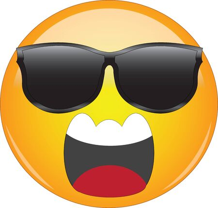 Cool emoji screaming in anger. Yellow face emoticon wearing sunglasses and screaming in anger with wide open mouth showing upper teeth. Expression of anger, fear, rage.