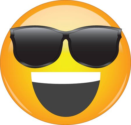 Cool happy grin yellow emoji. Smiling yellow face emoticon wearing sunglasses and having wide open smile on its face. Expression of being cool or awesome and happy, joyful and ecstatic. Vetores