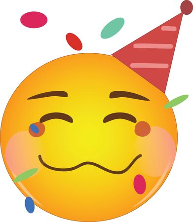 Happy drunk emoji at party. Partying yellow drunk face emoticon with a crumpled mouth, blushing cheeks, wearing a party hat and having confetti floats around its head. Having fun, good time partying.