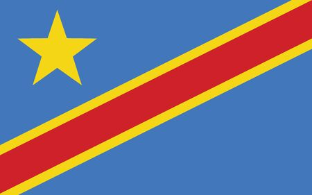 DR Congo flag vector graphic. Rectangle Congolese flag illustration. Democratoc Republic of Congo country flag is a symbol of freedom, patriotism and independence.