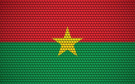 Abstract flag of Burkina Faso made of circles. Burkinabe flag designed with colored dots giving it a modern and futuristic abstract look. Ilustração Vetorial