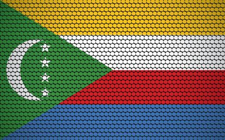 Abstract flag of Comoros made of circles. Comorian flag designed with colored dots giving it a modern and futuristic abstract look. Ilustração Vetorial