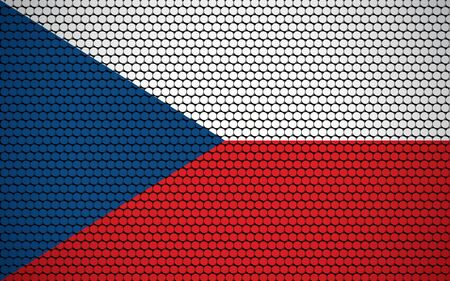 Abstract flag of Czechia made of circles. Czech flag designed with colored dots giving it a modern and futuristic abstract look. Ilustrace