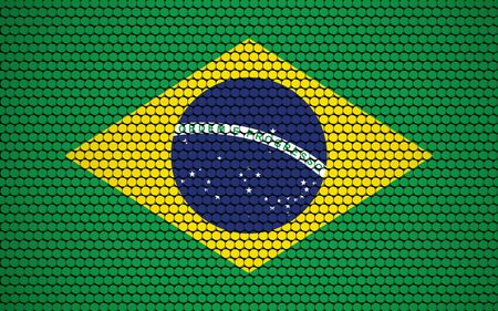 Abstract flag of Brazil made of circles. Brazilian flag designed with colored dots giving it a modern and futuristic abstract look.