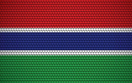 Abstract flag of Gambia made of circles. Gambian flag designed with colored dots giving it a modern and futuristic abstract look. Ilustração