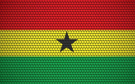Abstract flag of Ghana made of circles. Ghanaian flag designed with colored dots giving it a modern and futuristic abstract look.