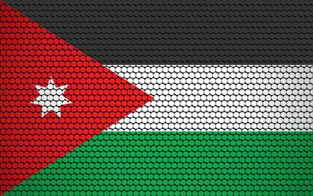 Abstract flag of Jordan made of circles. Jordanian flag designed with colored dots giving it a modern and futuristic abstract look.