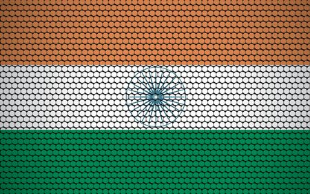 Abstract flag of India made of circles. Indian flag designed with colored dots giving it a modern and futuristic abstract look.