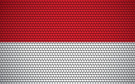 Abstract flag of Monaco made of circles. Monegasque flag designed with colored dots giving it a modern and futuristic abstract look.