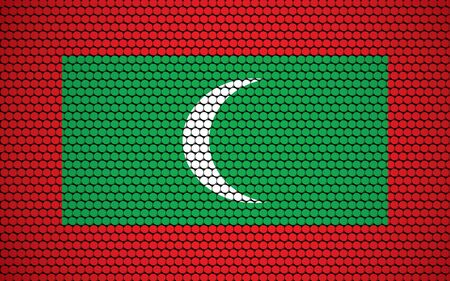 Abstract flag of Maldives made of circles. Maldivian flag designed with colored dots giving it a modern and futuristic abstract look.