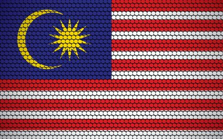 Abstract flag of Malaysia made of circles. Malaysian flag designed with colored dots giving it a modern and futuristic abstract look.