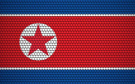 Abstract flag of North Korea made of circles. North Korean flag designed with colored dots giving it a modern and futuristic abstract look.
