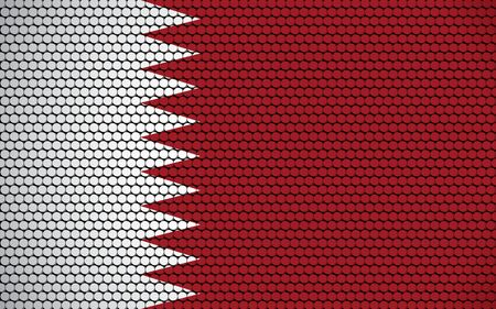 Abstract flag of Qatar made of circles. Qatari flag designed with colored dots giving it a modern and futuristic abstract look.