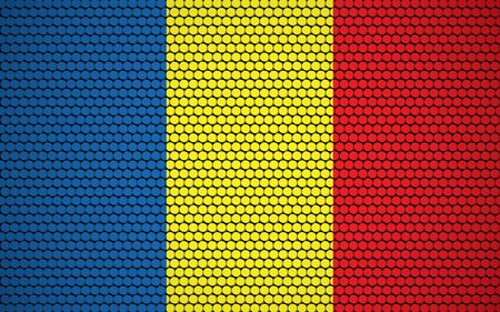 Abstract flag of Romania made of circles. Romanian flag designed with colored dots giving it a modern and futuristic abstract look.