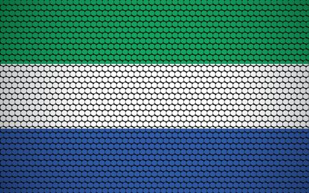 Abstract flag of Sierra Leone made of circles. Sierra Leonean flag designed with colored dots giving it a modern and futuristic abstract look. Ilustrace