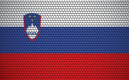 Abstract flag of Slovenia made of circles. Slovenian flag designed with colored dots giving it a modern and futuristic abstract look.