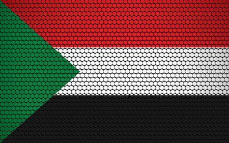 Abstract flag of Sudan made of circles. Sudanese flag designed with colored dots giving it a modern and futuristic abstract look.