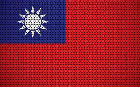 Abstract flag of Taiwan made of circles. Taiwanese flag designed with colored dots giving it a modern and futuristic abstract look.