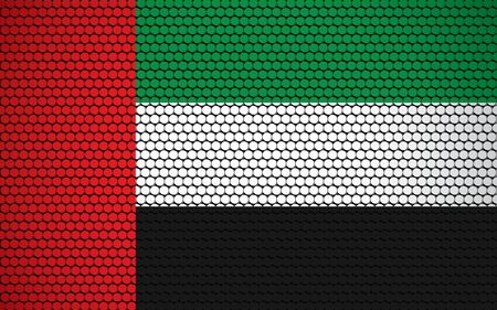 Abstract flag of UAE made of circles. Emirati flag designed with colored dots giving it a modern and futuristic abstract look.