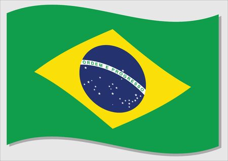 Waving flag of Brazil vector graphic. Waving Brazilian flag illustration. Brazil country flag wavin in the wind is a symbol of freedom and independence.