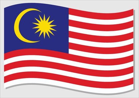 Waving flag of Malaysia vector graphic. Waving Malaysian flag illustration. Malaysia country flag wavin in the wind is a symbol of freedom and independence.