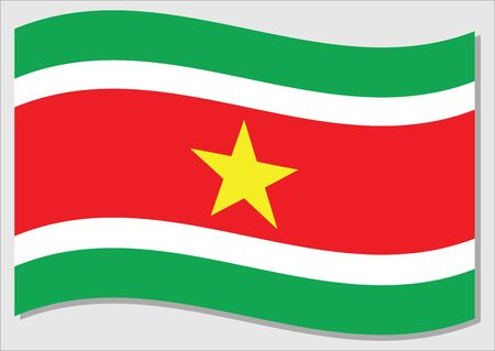 Waving flag of Suriname vector graphic. Waving Surinamese flag illustration. Suriname country flag wavin in the wind is a symbol of freedom and independence.