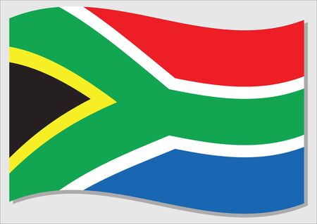 Waving flag of South Africa vector graphic. Waving South African flag illustration. South Africa country flag wavin in the wind is a symbol of freedom and independence. Ilustração Vetorial