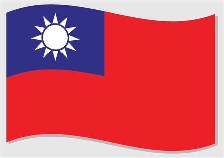 Waving flag of Taiwan vector graphic. Waving Taiwanese flag illustration. Taiwan country flag wavin in the wind is a symbol of freedom and independence.