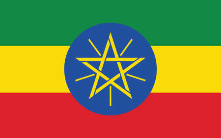 Ethiopia flag vector graphic. Rectangle Ethiopian flag illustration. Ethiopia country flag is a symbol of freedom, patriotism and independence.