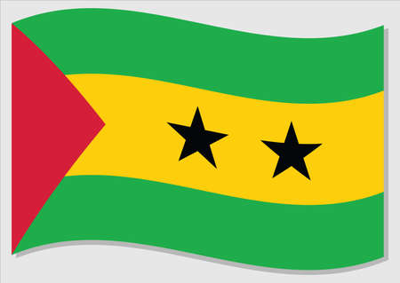 Waving flag of Sao Tome and Principe vector graphic. Waving Sao Tomean flag illustration. Sao Tome and Principe country flag wavin in the wind is a symbol of freedom and independence.