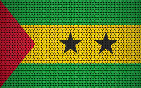 Abstract flag of Sao Tome and Principe made of circles. Sao Tomean flag designed with colored dots giving it a modern and futuristic abstract look.