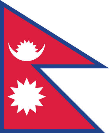 Nepal flag vector graphic. Rectangle Nepalese flag illustration. Nepal country flag is a symbol of freedom, patriotism and independence.