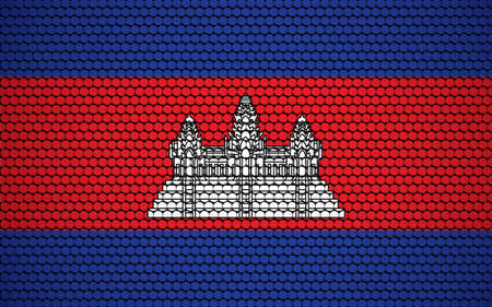 Abstract flag of Cambodia made of circles. Cambodian flag designed with colored dots giving it a modern and futuristic abstract look.