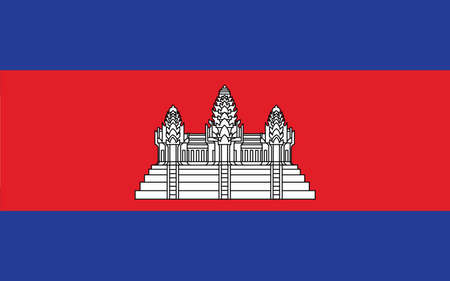 Cambodia flag vector graphic. Rectangle Cambodian flag illustration. Cambodia country flag is a symbol of freedom, patriotism and independence. 向量圖像