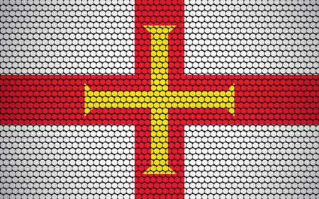 Abstract flag of Guernsey made of circles. Guernesiais flag designed with colored dots giving it a modern and futuristic abstract look. Ilustração Vetorial