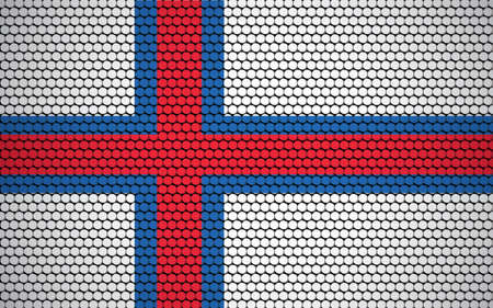 Abstract flag of Faroe Island made of circles. Faroese flag designed with colored dots giving it a modern and futuristic abstract look.