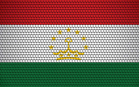 Abstract flag of Tajikistan made of circles. Tajikistani flag designed with colored dots giving it a modern and futuristic abstract look.