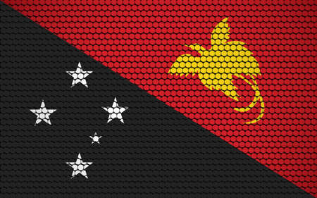 Abstract flag of Papua New Guinea made of circles. Papuan flag designed with colored dots giving it a modern and futuristic abstract look. Ilustração