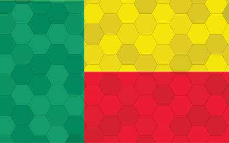 Benin flag illustration. Futuristic Beninese flag graphic with abstract hexagon background vector. Benin national flag symbolizes independence.