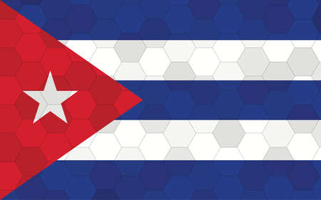 Cuba flag illustration. Futuristic Cuban flag graphic with abstract hexagon background vector. Cuba national flag symbolizes independence.