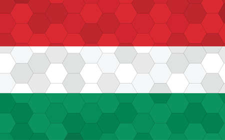 Hungary flag illustration. Futuristic Hungarian flag graphic with abstract hexagon background vector. Hungary national flag symbolizes independence.