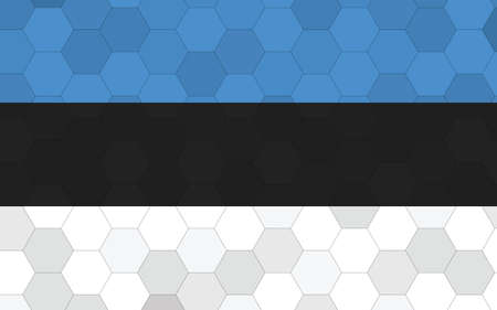 Estonia flag illustration. Futuristic Estonian flag graphic with abstract hexagon background vector. Estonia national flag symbolizes independence.