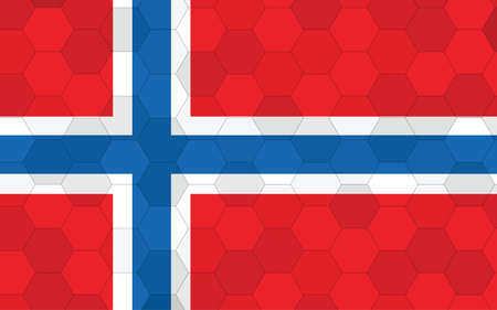 Norway flag illustration. Futuristic Norwegian flag graphic with abstract hexagon background vector. Norway national flag symbolizes independence.