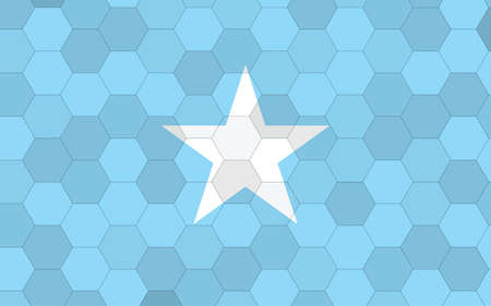 Somalia flag illustration. Futuristic Somali flag graphic with abstract hexagon background vector. Somalia national flag symbolizes independence.