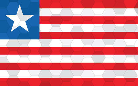 Liberia flag illustration. Futuristic Liberian flag graphic with abstract hexagon background vector. Liberia national flag symbolizes independence.